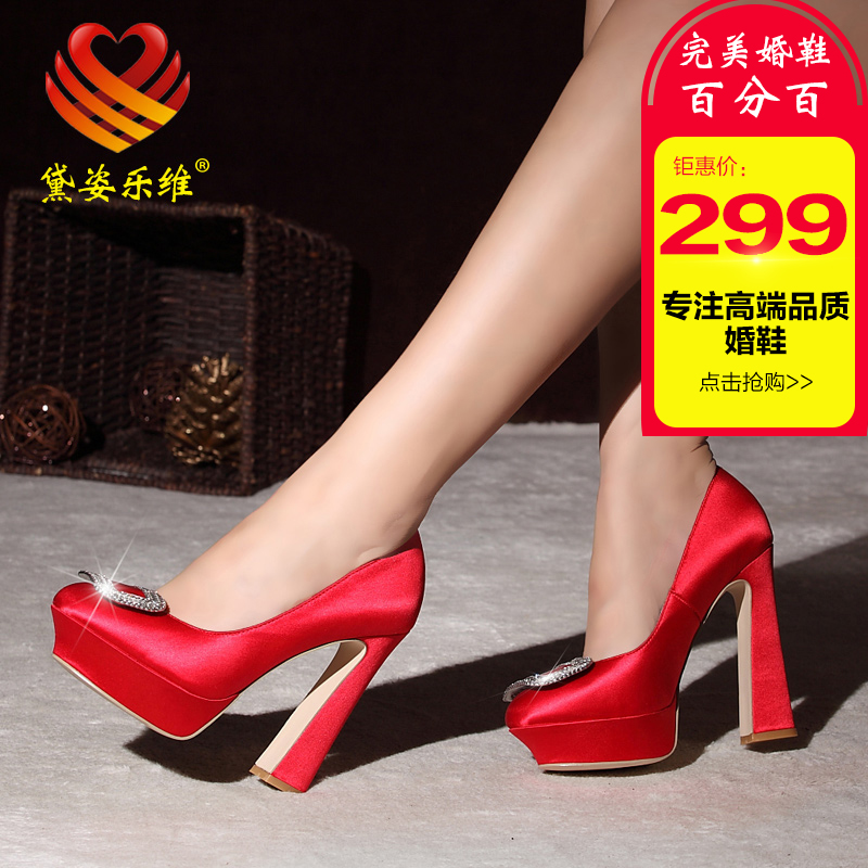 Dai zi levay thick with waterproof high heels shoes rhinestone buckle round red wedding shoes bridal shoes wedding dress shoes