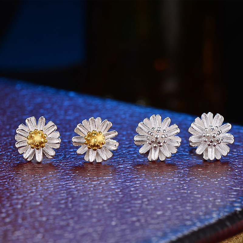 Daisy huang huang · en en s925 silver earrings fashion earrings female small fresh flowers gas quality sweet ear jewelry