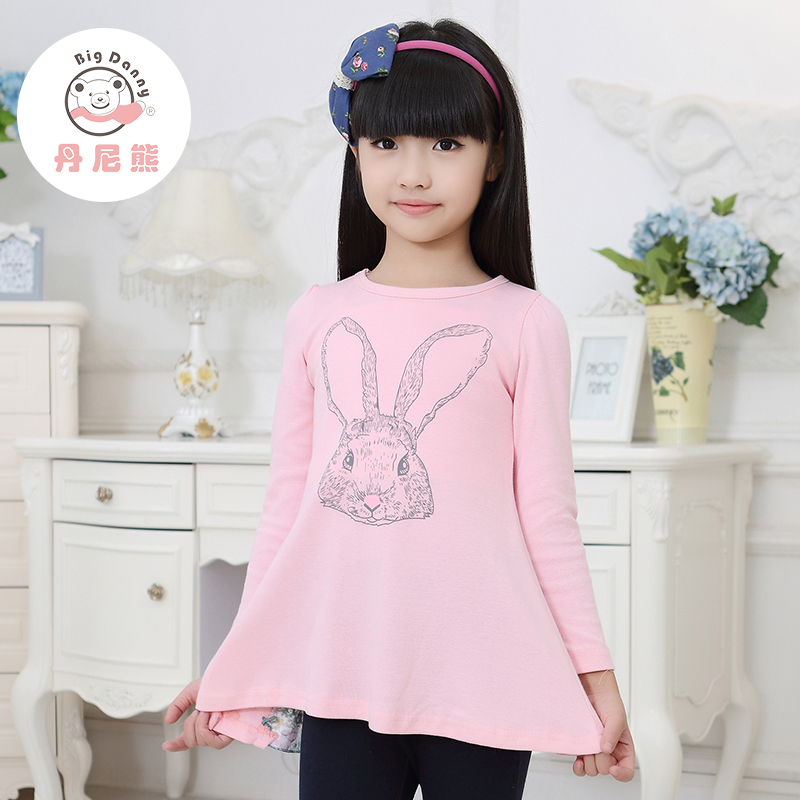 Danny bear new children's clothing girls flounced shirt children spring and autumn long sleeve t-shirt round neck bottoming shirt cartoon