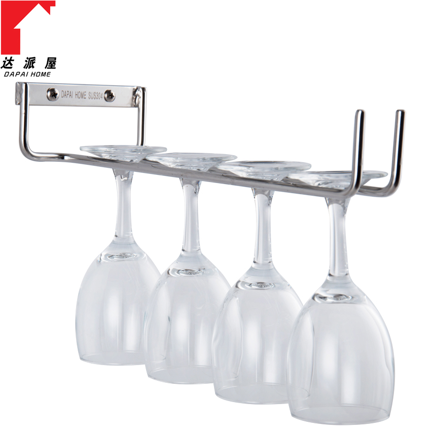 Dapai house 304 stainless steel single row of red wine cup holder cup holder hanging stemware rack hanging upside down euclidian drain cup holder bar