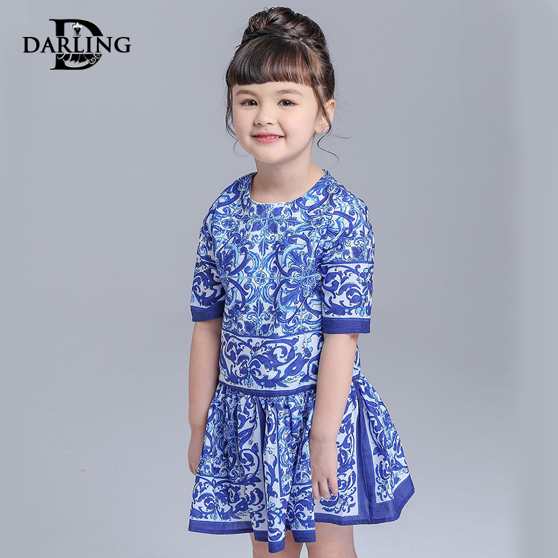 b605f61fa8 Get Quotations · Darling princess girls spring and autumn new sleeve  jumpsuit pleated skirt ethnic chinese blue and white