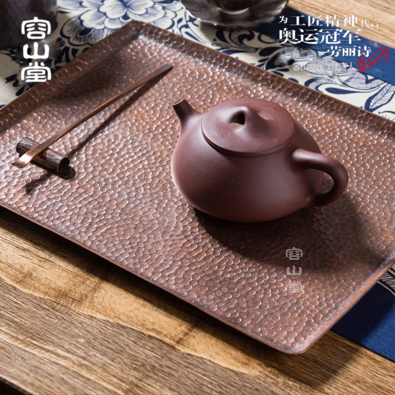 Darongshan hall copper hammer head dry foam tray handmade yixing purple clay pot pot bearing pad water storage tray small saucer plate