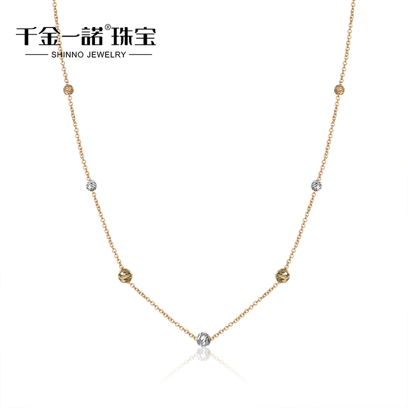 Daughter of a promise k gold color gold necklace chain necklace female models transfer beads necklace italy 2015 new