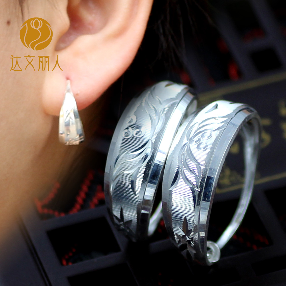 Davenport beauty elderly female 999 silver earrings female silver jewelry fine silver sterling silver earrings small ear ring to send his mother