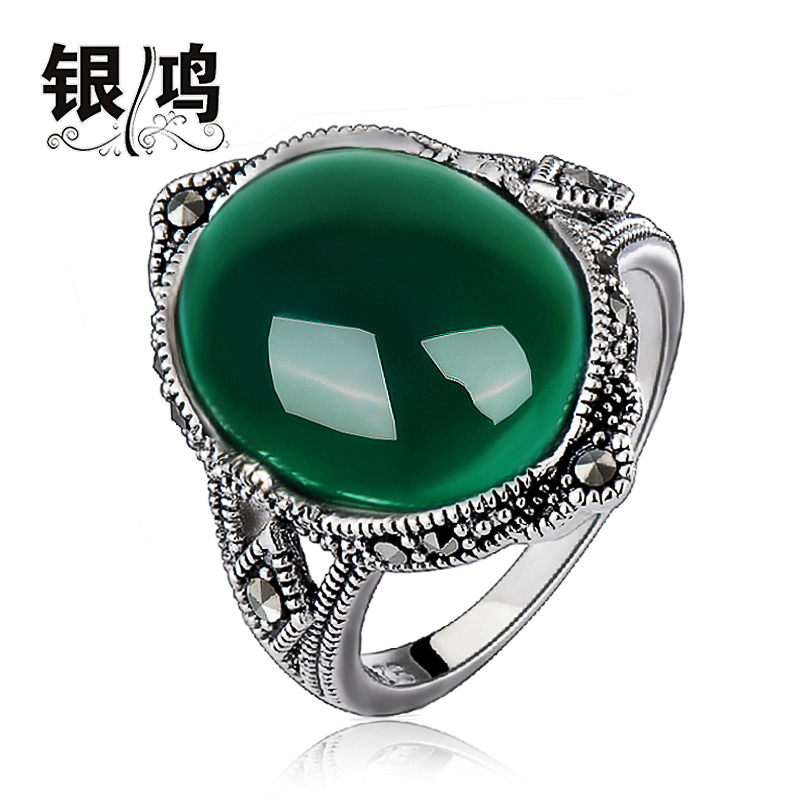 David silver 925 silver jewelry green palace retro thai silver ring finger ring female models natural green agate chalcedony ring