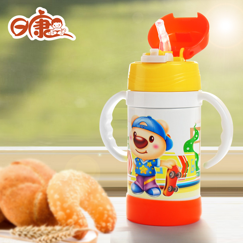 Day kang stainless steel vacuum insulation glass suction cups baby drinking cups children mug 240 ml 3441