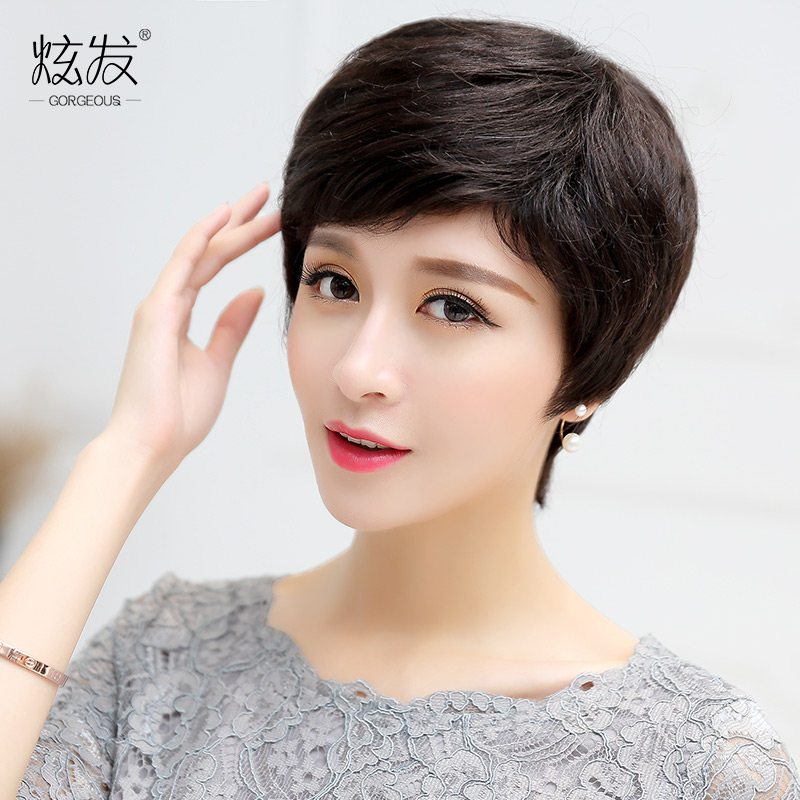 Dazzle hair real hair wig short hair wig middle-aged mom entire top wig oblique bangs hand woven top
