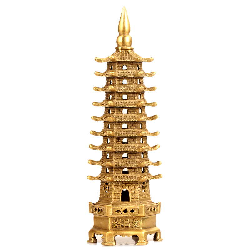 De ornaments nine wenchang tower opening wide margin copper wenchang tower academic exam study feng shui ornaments crafts