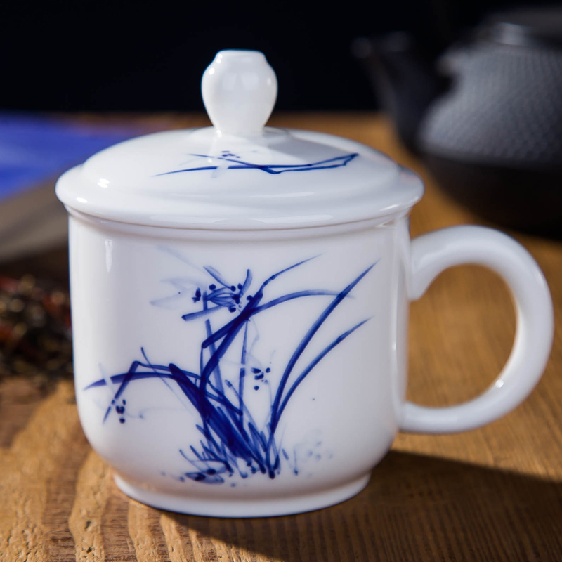 De xiang rui jingdezhen ceramic cup with lid household small cup single cup personal office cup