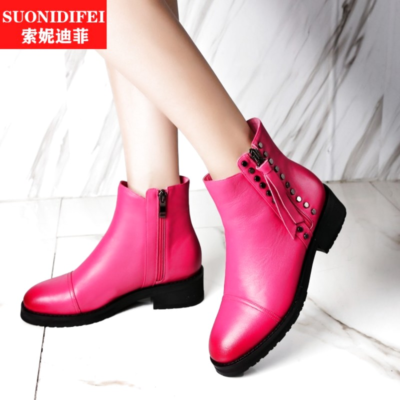 Decorative metal rivets water dyed leather casual flat boots martin boots women's boots european stations rose red shoes