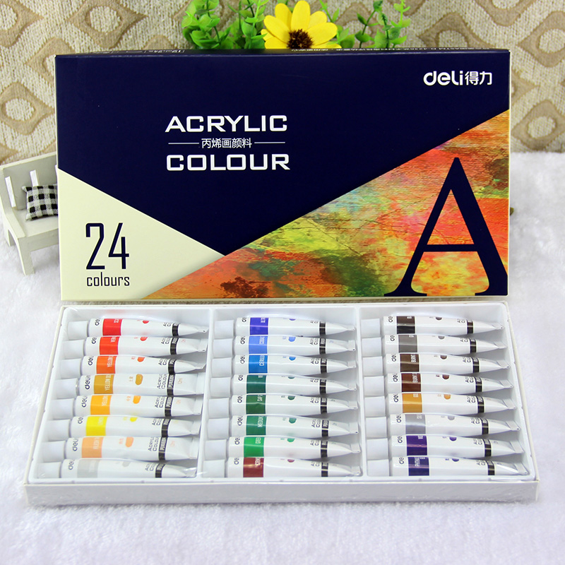 Deli 24 waterproof outdoor creative painting acrylic paint colors painted wall painted textile paint acrylic paint 12 ml