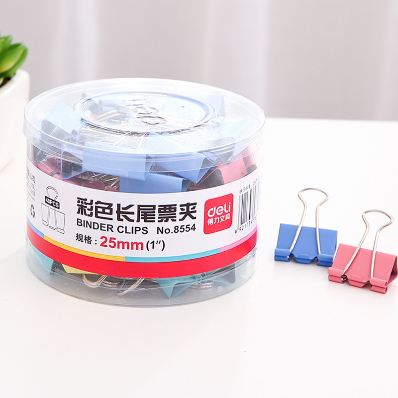 Deli 41mm trumpet color metal paper clip binder clips ticket clip dovetail clamp 8552 office dedicated shipping