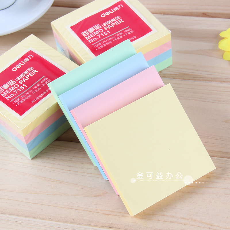 Deli 7151 pepsi stickers sticky adhesive note paper colored sticky notes posted message paper 76*76mm sticky