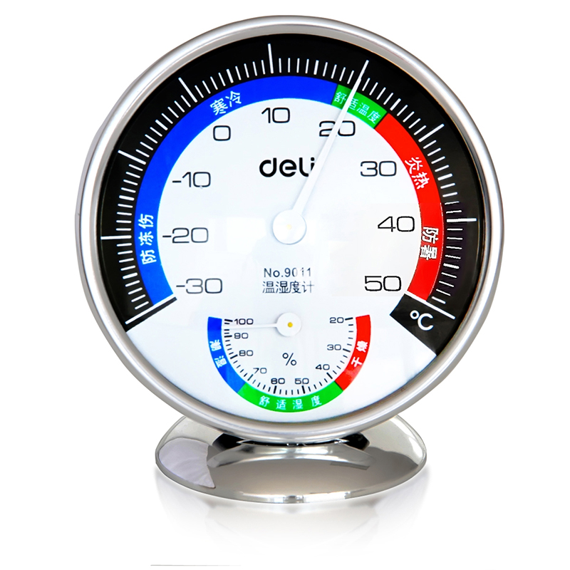 Deli 9011 units put wall mounted indoor temperature hygrometer hygrometer import movement with high precision