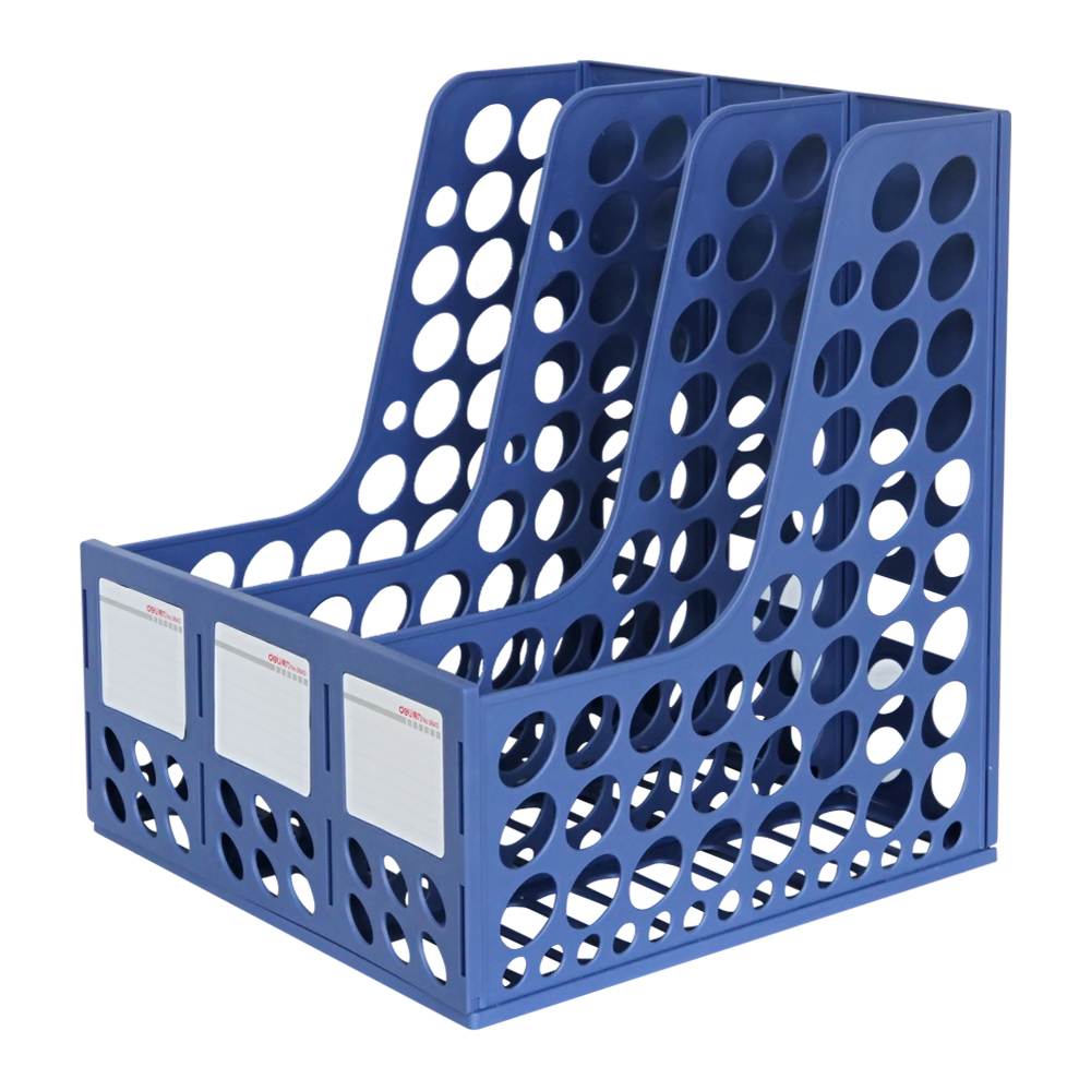 Deli 9843 triple file box plastic file frame data frame file column file basket file column three column