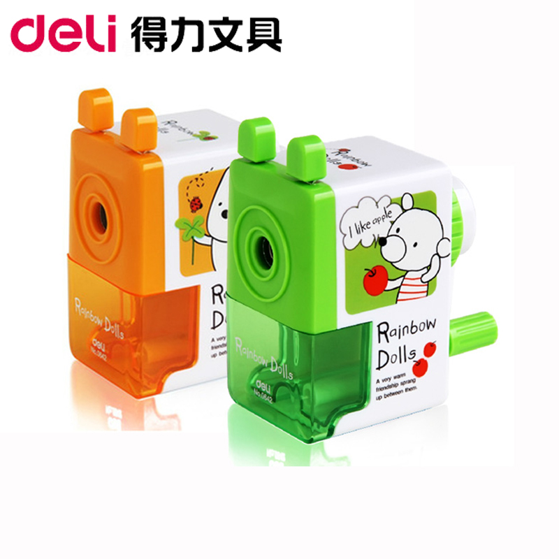 Deli cute cartoon child student stationery pencil sharpener pencil sharpener cranked pencil sharpener pencil sharpener pencil sharpener knife genuine special