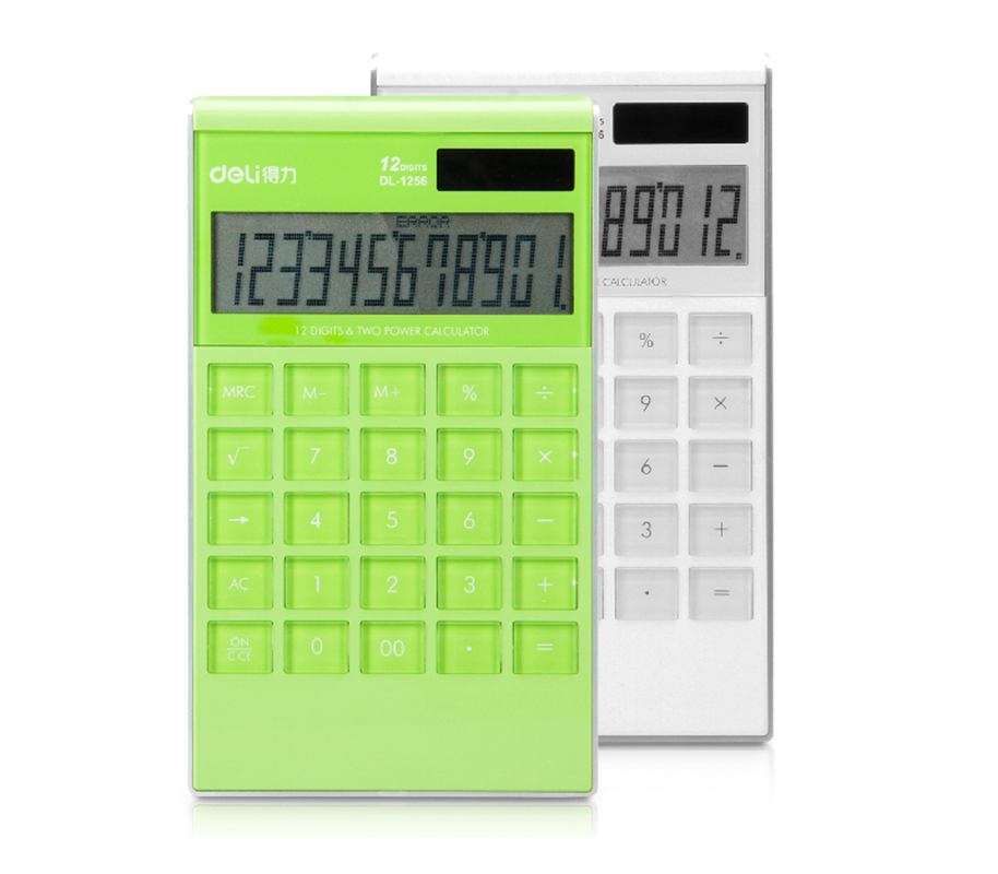 Deli/deli 1256 big button calculator creative cute 10 taiwan straight transparent color random