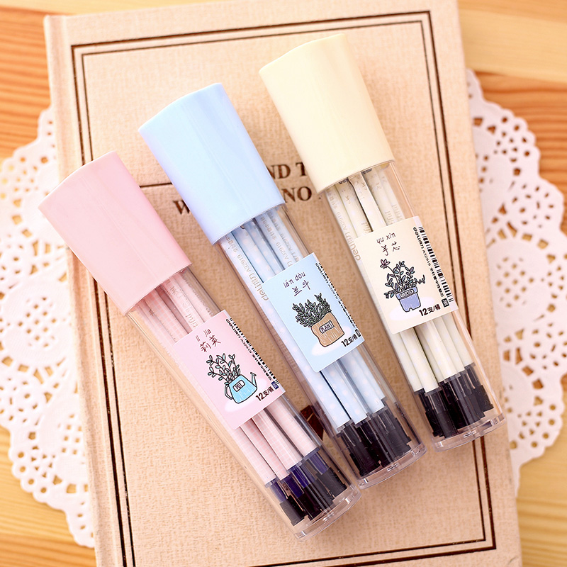 Deli deli A32919 rillette japan and south korea cute gel pen core needle 38mm black gel pen pen pen pen refills