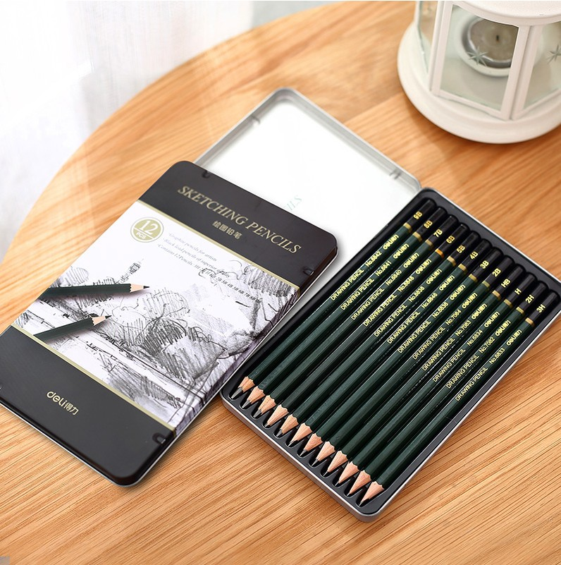 Deli deli s949 painted wood painting pencil sketch pencil drawing kit professional art drawing pencil drawing 12 tin