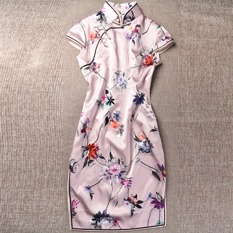 Delicate brandtology 2016 new retro short paragraph cheongsam dress ms. improved cheongsam dress silk dress Q1693