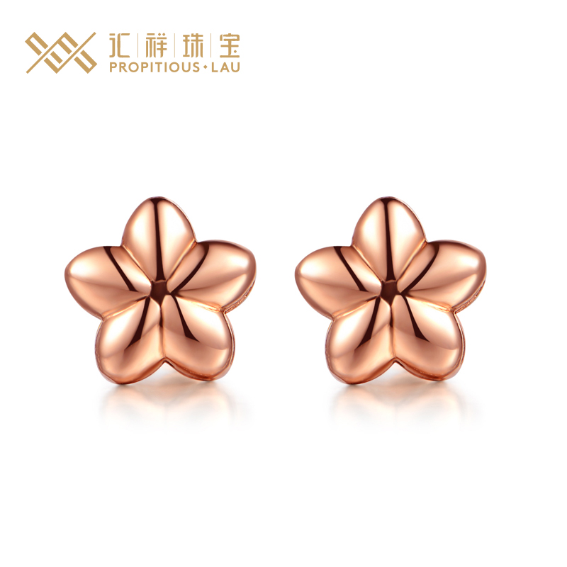 Department of cheung jewelry k gold rose gold earrings rose gold earrings genuine female models moist solid handmade flowers