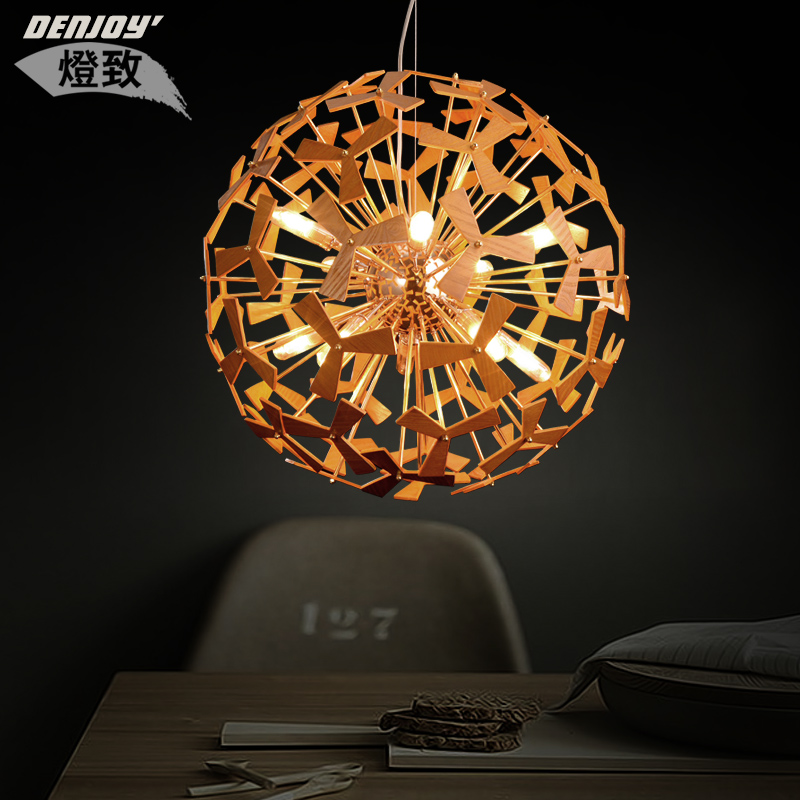 Designer lamps minimalist chandelier creative personality caused by wood art wood led lamps bedroom living room dining room