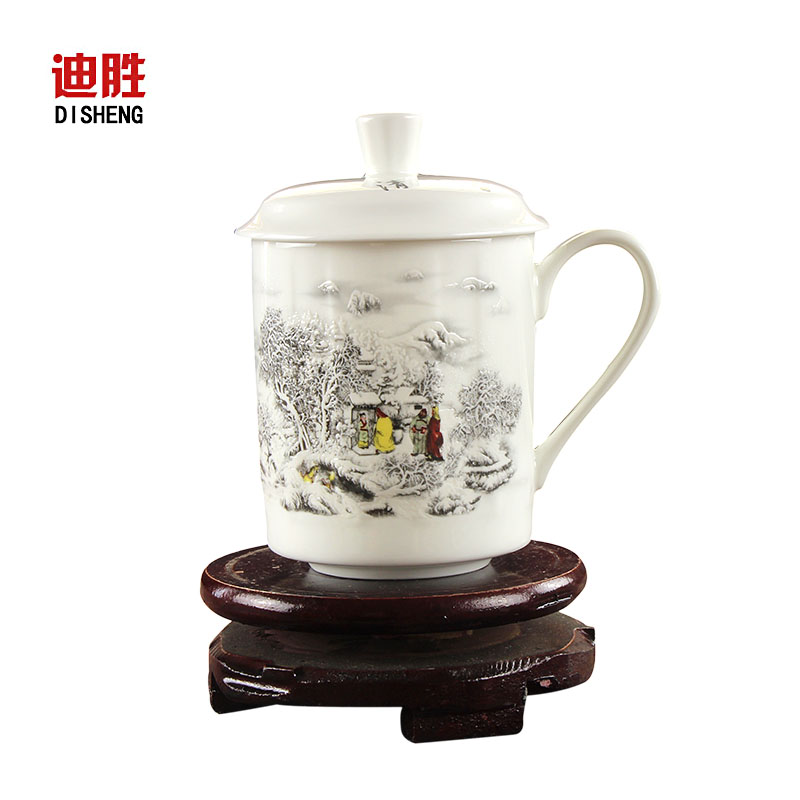 Di sheng jingdezhen ceramic king style cup upscale office cup with lid bone china porcelain cup cup office cup meeting