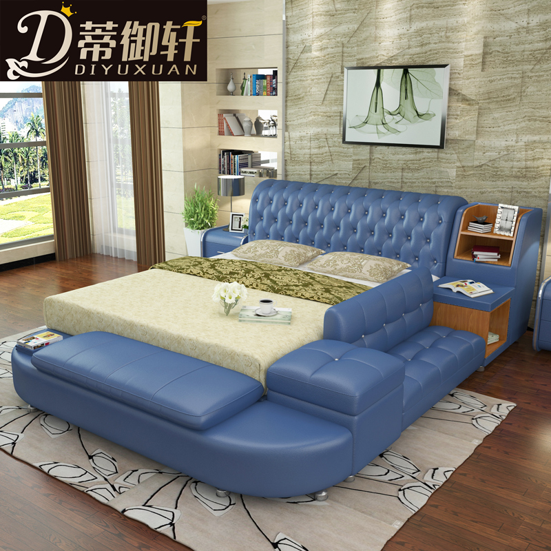 Di yumsun tatami bed leather bed double bed 1.8 m soft bed storage bedroom home with a modern leather bed leather bed 17b