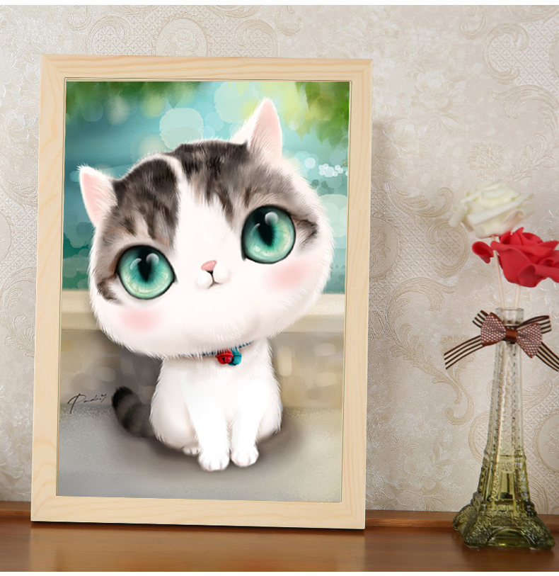 Diamond diy painting full of diamond drilling bedroom cartoon cute cat point diamond stitch embroidered diamond paste diamond drill masonry painting