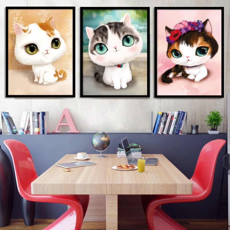 Diamond painting triptych bedroom cartoon cute cat full of diamond rhinestone cross stitch embroidered diamond paste diamond drill masonry painting