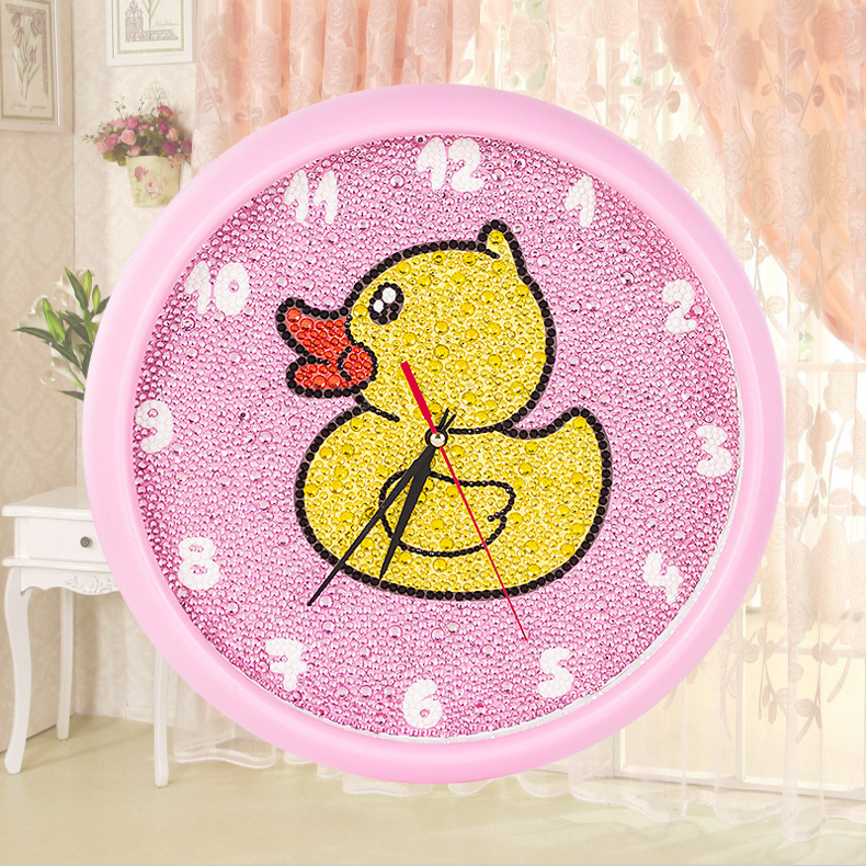 [] Diamond painting wall clock with photo frame cartoon children's bedroom full of diamond point diamond stitch sticky paste tiles painted duck