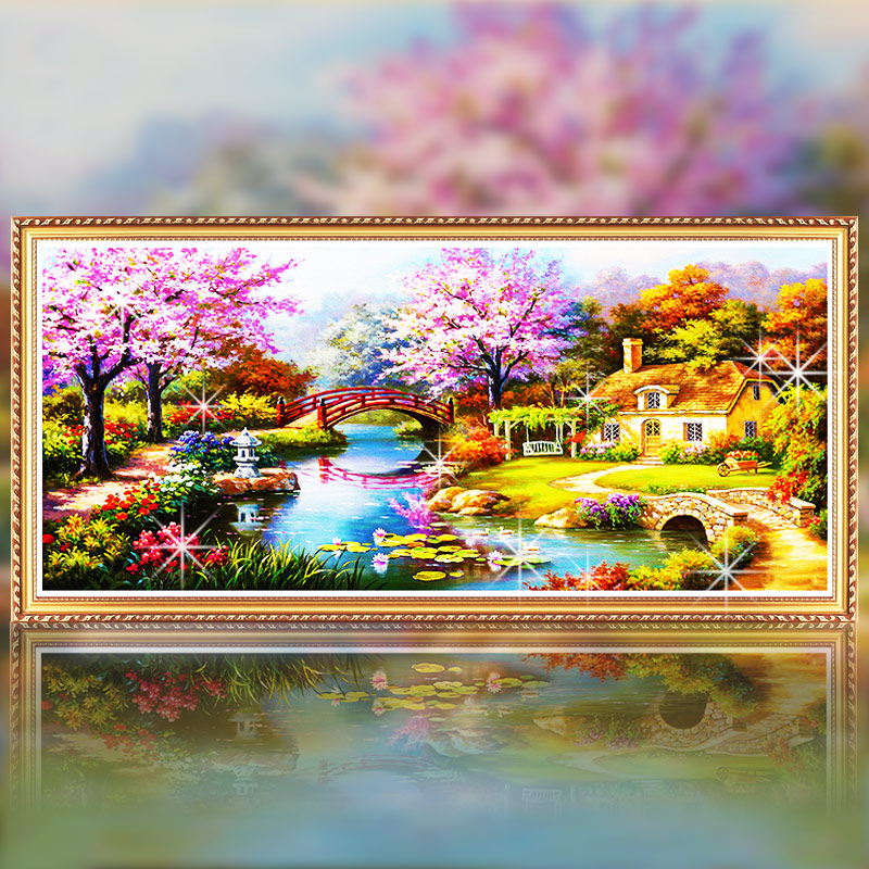 Diamond stitch new living room 5d show masonry diamond paste painting painting full diamond diamond diamond diamond stitch european town