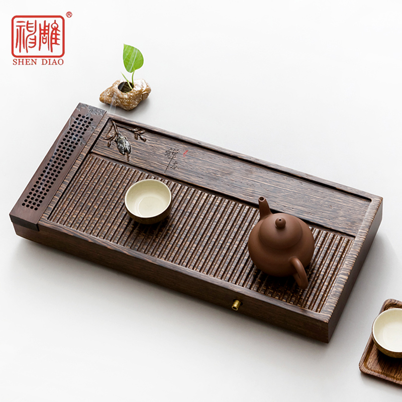 Diao inblock wenge wood incense dry foam tray small tea sets drainage tea sea kung fu tea tea tray