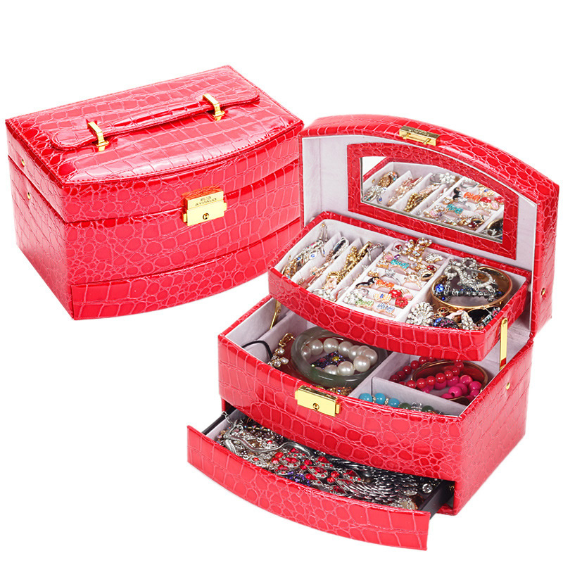 Digital storage box jewelry box jewelry box leather jewelry box jewelry box automatically crocodile storage box jade jewelry counter