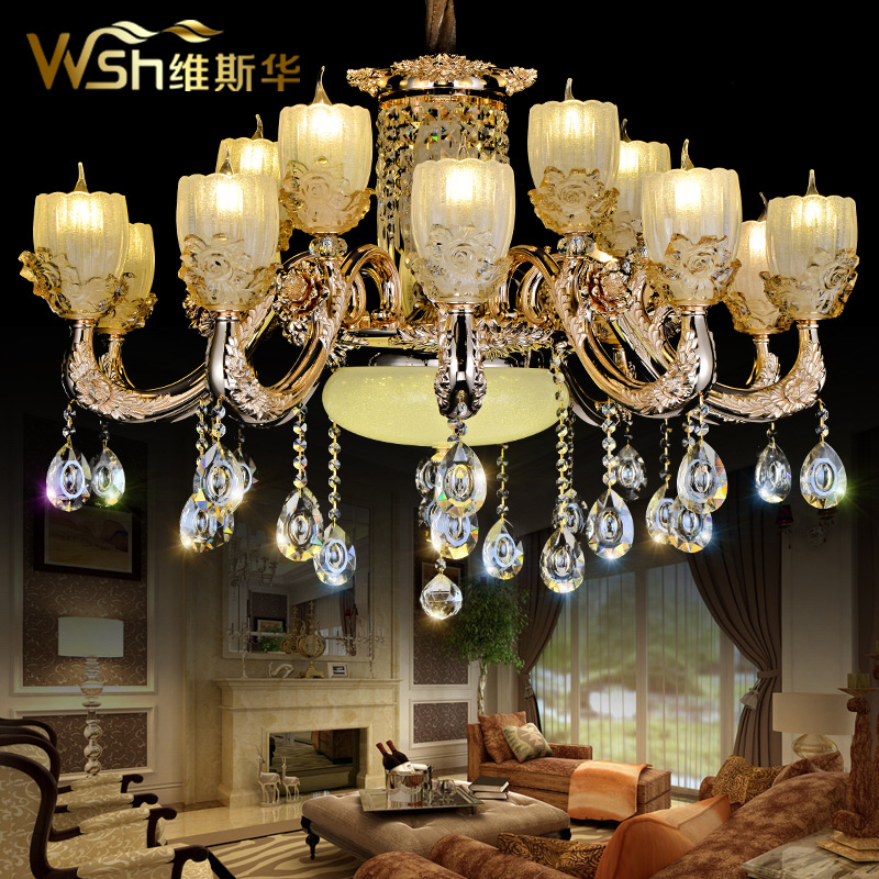 Dimentional period china zinc alloy crystal chandelier ceiling lamp personality living room chandelier hanging lamp lighting villa led remote control