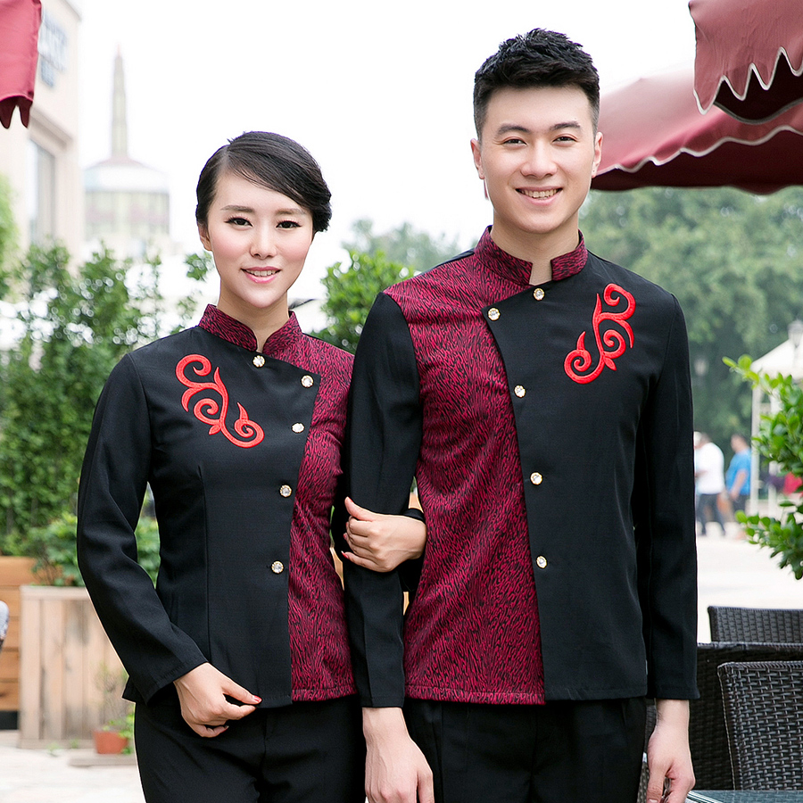 Dingheng new hotel waiter sleeved overalls overalls fall and winter clothes hotel restaurant uniforms for men and women