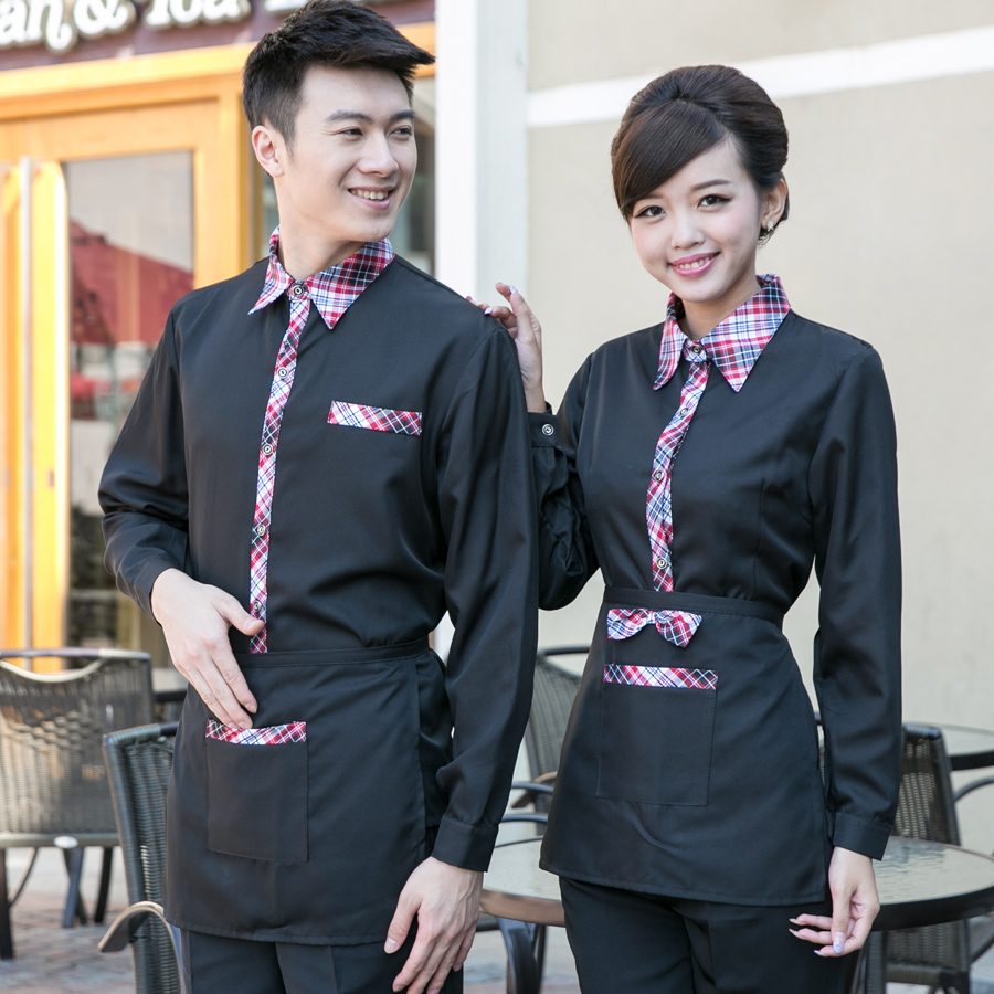 Dingheng sleeved overalls hotel restaurant waiter overalls fall and winter clothes catering uniforms