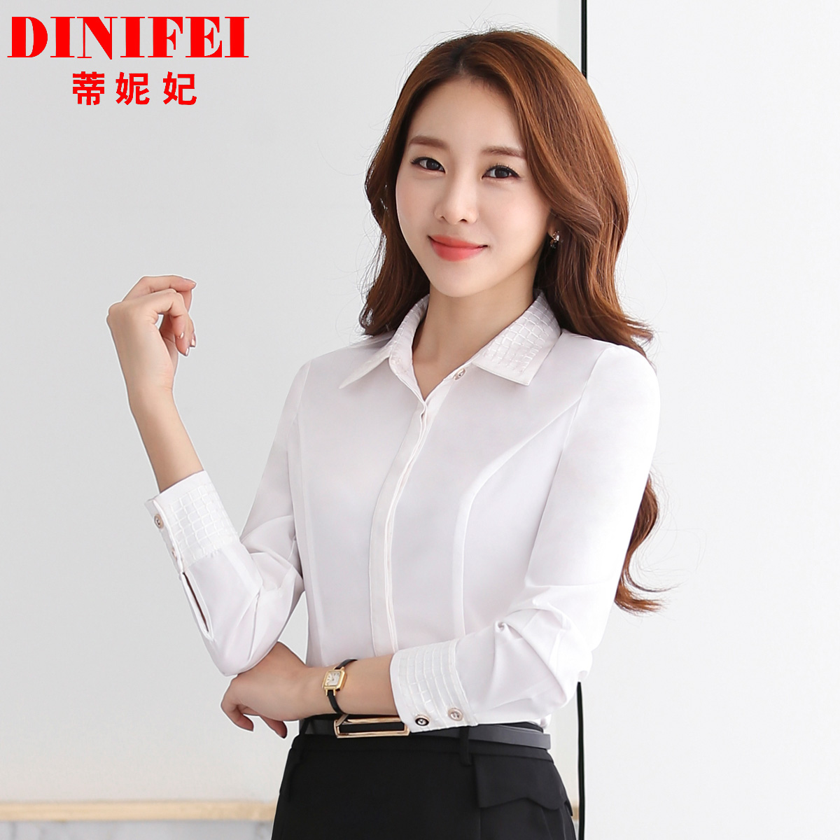 Dini fei 2016 autumn and winter wear long sleeve white shirt female occupational tooling white shirt dress overalls are installed