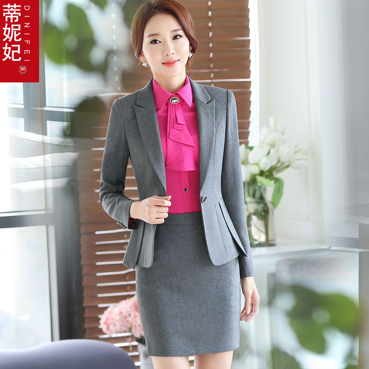 Dini fei 2016 korean version of the spring and autumn ol ladies wear suits ladies are fitting body suit skirt suit skirt