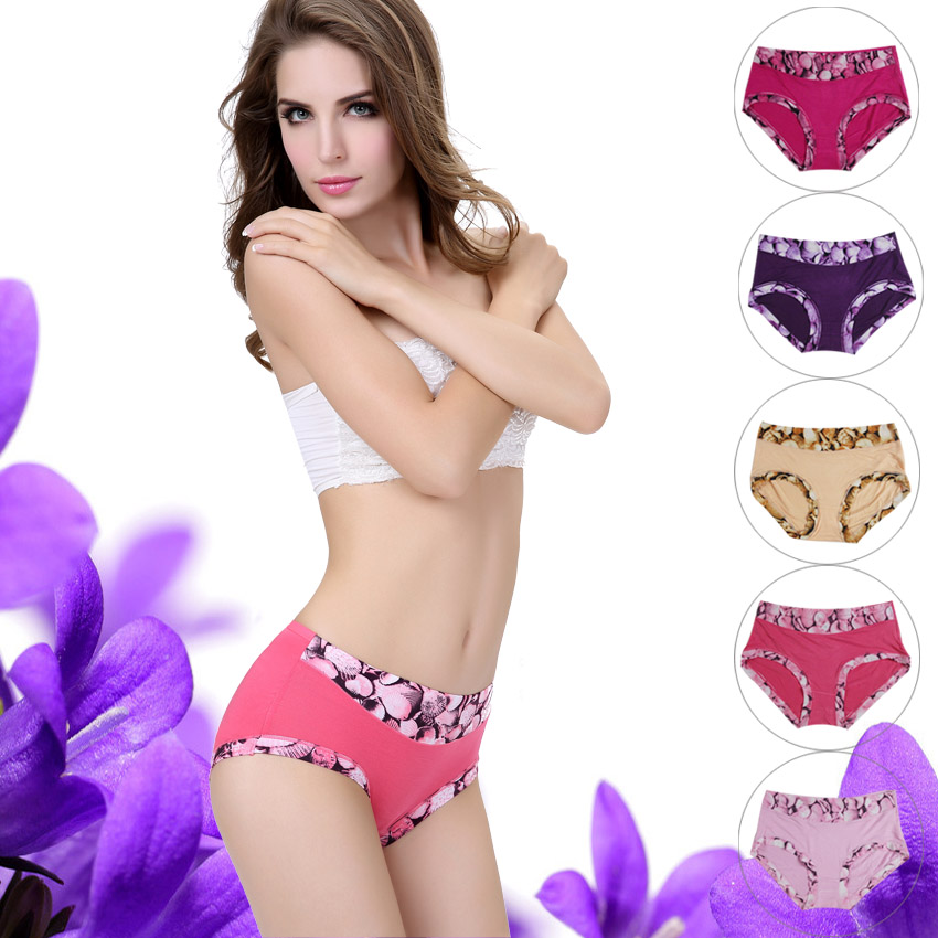 Dini pose 5 installed ms. bamboo fiber body printing waist briefs fashion candy colored girls