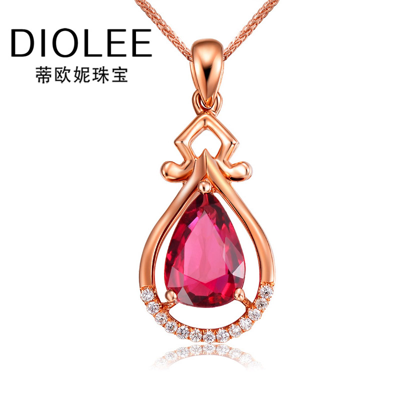 Diou ni bonus tourmaline pendant in sterling silver jewelry 90 k rose gold diamond colored gemstone necklace jewelry female