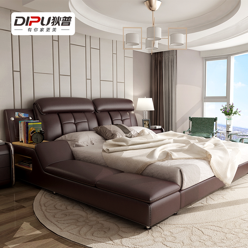 Dipu fashion double bed leather bed leather bed software bed tatami bed storage bed marriage bed bedroom furniture