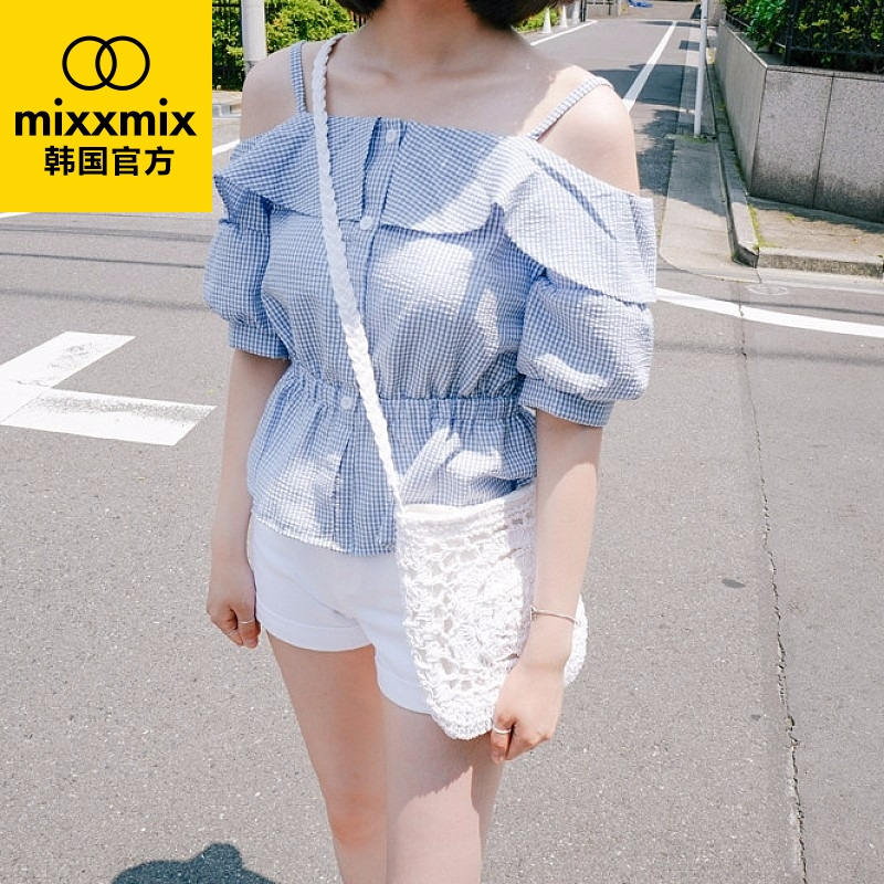 Direct mail korea mixxmix official summer new korean version of flounced stitching plaid exposed shoulder blouses