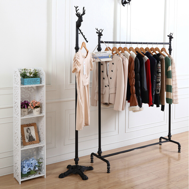 Discount clothing store clothing racks display rack/iron clothing rack/clothing side hung floor rack for hanging clothes hanging shelves
