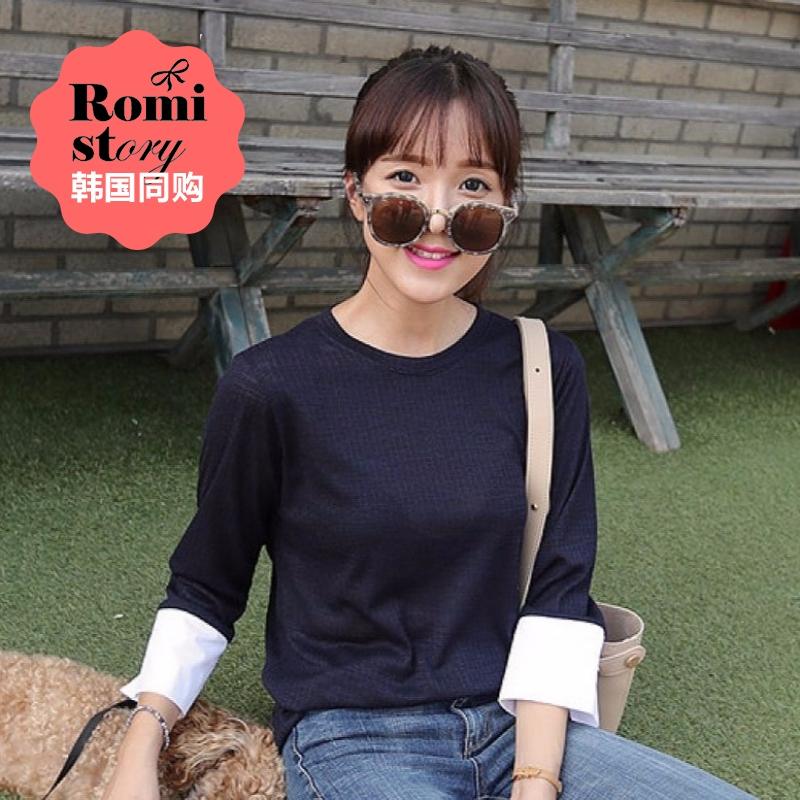[Discounted shipping] s ~ xxl korean romistory cuffs loose women's autumn color stitching t-shirt fashion