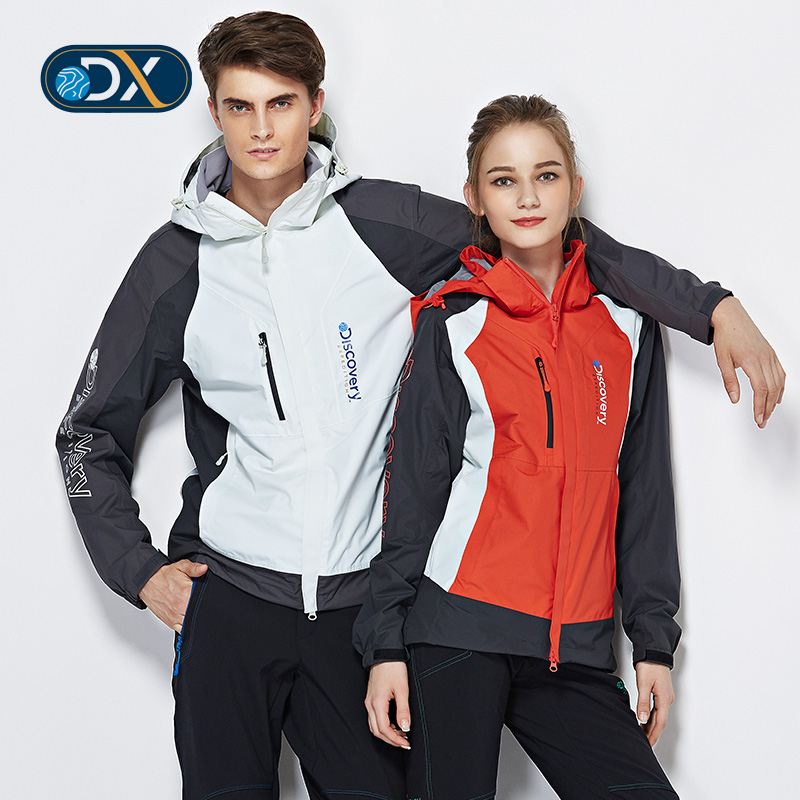 Discovery outdoor new male and female couple models triple jackets piece velvet spell color waterproof and breathable
