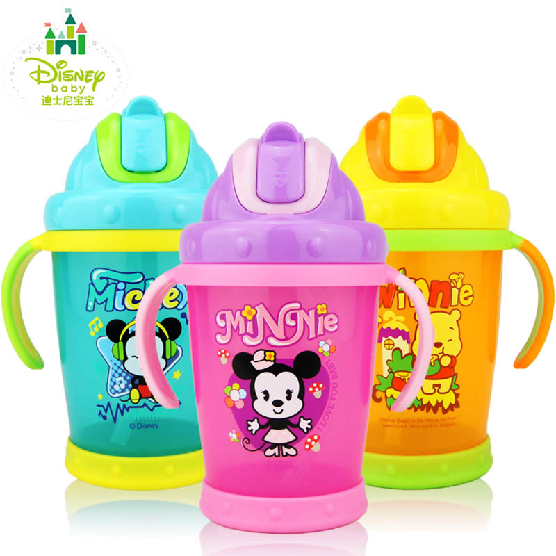 Disney baby summer straw learn to drink cup with handle double handle pp straw cup straw cup water cup leak fangshuai children