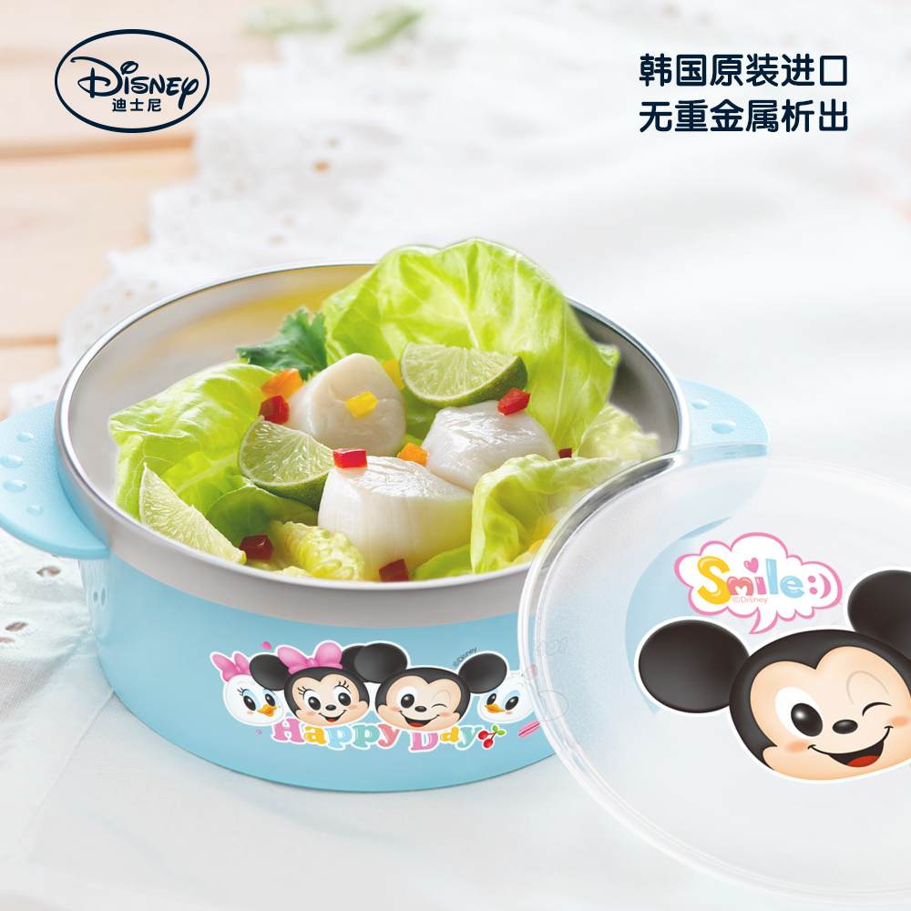 Disney children's cutlery 304 stainless steel bowl drop resistance against hot south korea imported baby food supplement baby food bowl