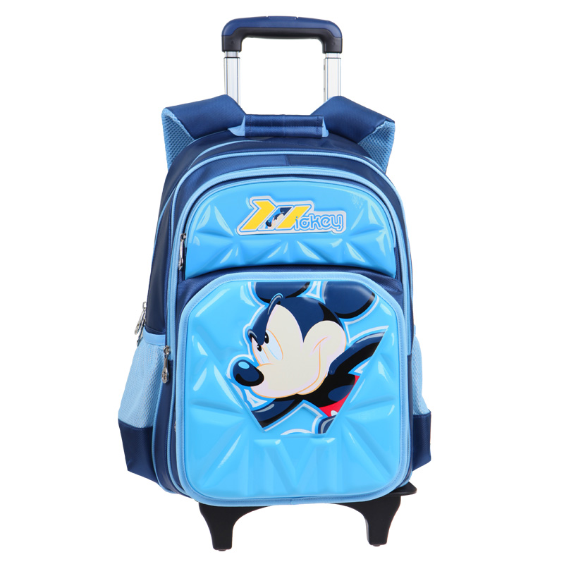 Disney mickey trolley bags trolley bags primary school children grades with two backs shoulder bag fashion trend of boys and girls spinal care