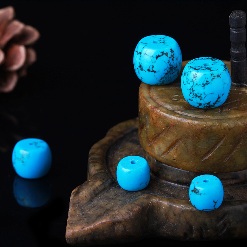 Diy imitation imitation turquoise blue turquoise beads loose beads accessories beads with beads xingyue bodhi barrel drum beads beads gold just